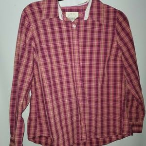 Women's Izod Plaid Button Down Long Sleeve Shirt